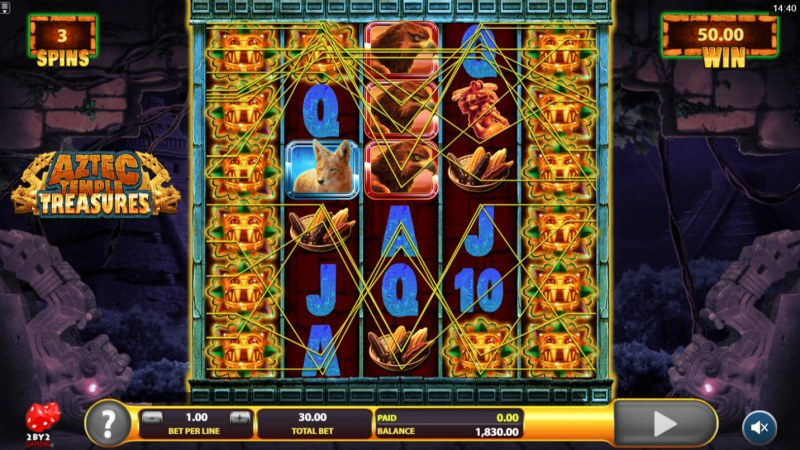 Aztec Temple Treasures :: Multiple winning combinations leads to a big win