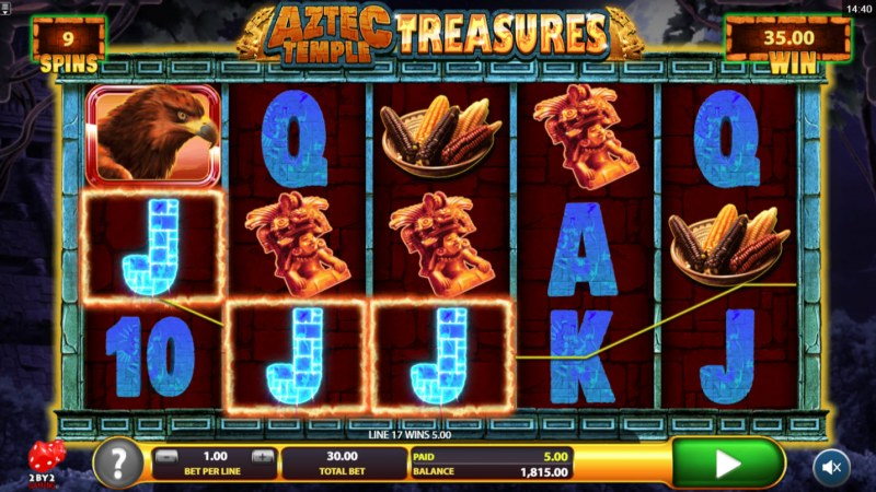 Aztec Temple Treasures :: Free Spins Game Board