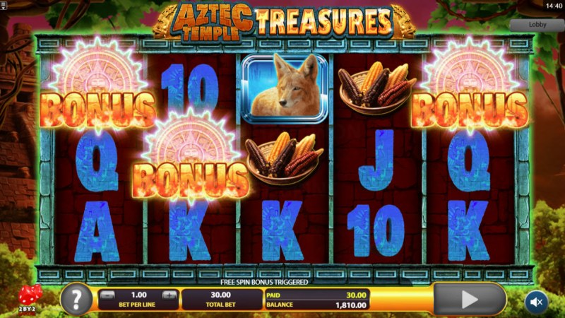 Aztec Temple Treasures :: Scatter symbols triggers the free spins feature