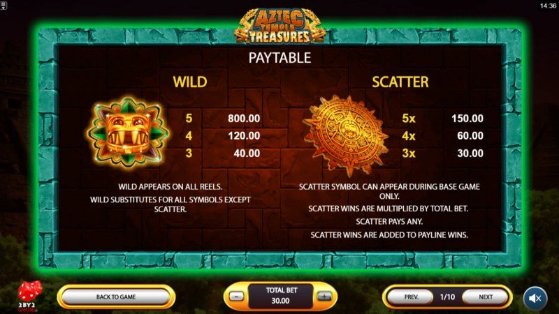 Aztec Temple Treasures :: Wild and Scatter Rules