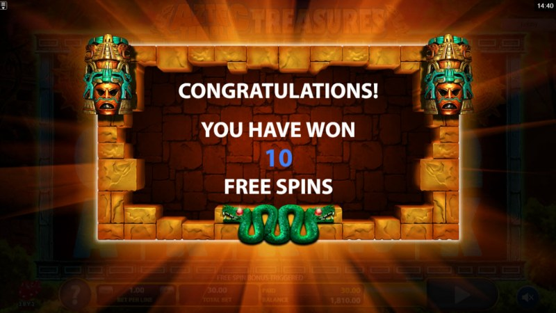 Aztec Temple Treasures :: 10 Free Spins Awarded
