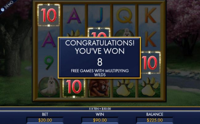 8 free spins with multiplying wilds awarded.