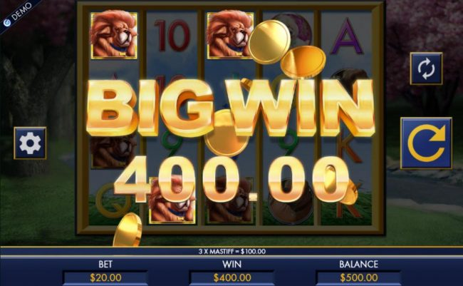 A 400.00 big win triggered  multiple combinations of Mastiff dog icons.