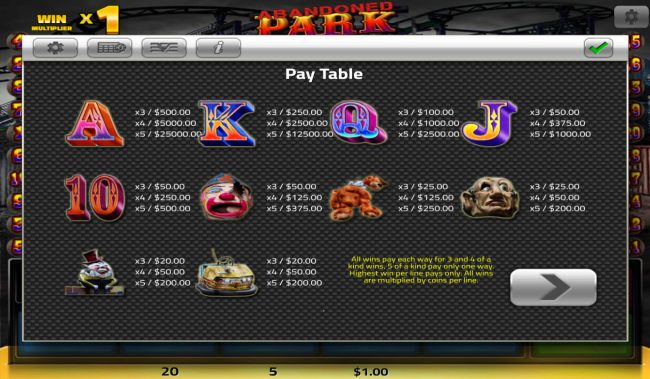 Big Spin featuring the Video Slots Abandoned Park with a maximum payout of $25,000