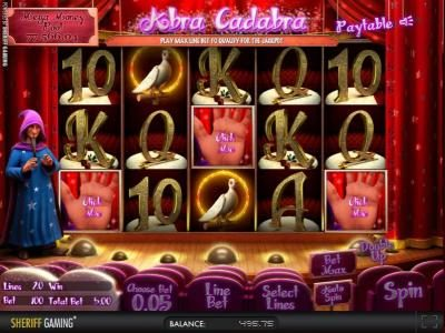 Casino Kaiser featuring the Video Slots Abra Cadabra with a maximum payout of $2,500