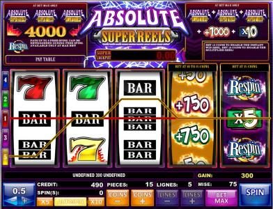 Money Reels featuring the Video Slots Absolute Super Reels with a maximum payout of $20,000