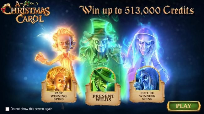 A Christmas Carol :: Win up to 513,000 coins! Features include Past Winning Spins, Present Wilds and Future Winning Spins.