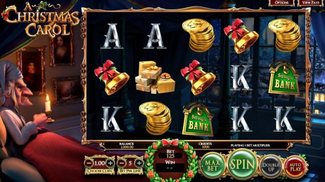 A Christmas Carol :: Main game board based on a classic Charles Dikens story, featuring five reels and 25 paylines with a $2,565,000 max payout