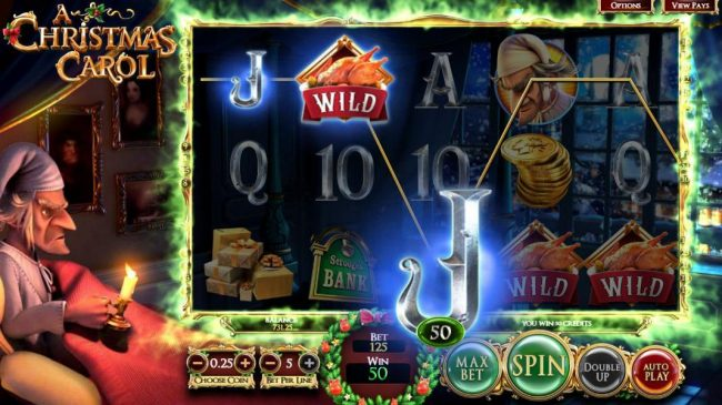 A Christmas Carol :: The Present Wilds feature triggers one payline win.