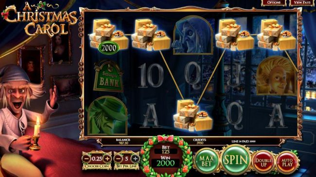 Real Bet featuring the Video Slots A Christmas Carol with a maximum payout of $2,565,000