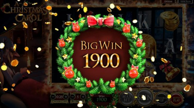 A Christmas Carol :: Christmas Past free spins feature pays out a total of 1900 coins for a big win!