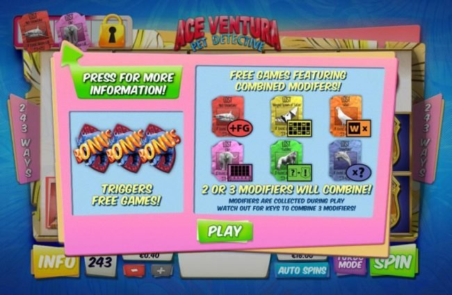 Slots Heaven featuring the Video Slots Ace Ventura Pet Detective with a maximum payout of $20,000