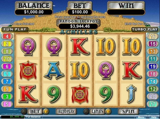 Casino Brango featuring the Video Slots Achilles with a maximum payout of $250,000