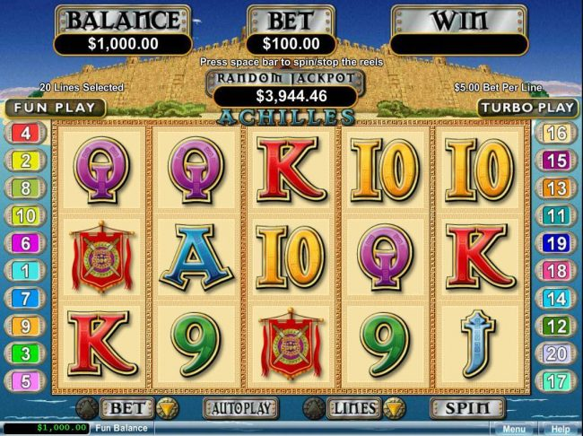 A Greek mytholigy themed main game board featuring five reels and 20 paylines with a $250,000 max payout