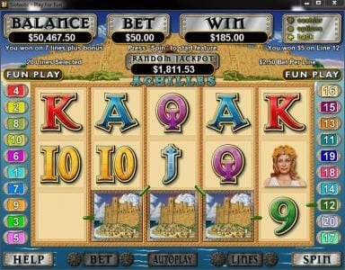Las Vegas USA featuring the Video Slots Achilles with a maximum payout of $250,000