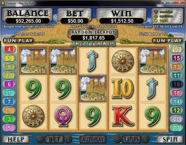Kudos featuring the Video Slots Achilles with a maximum payout of $250,000