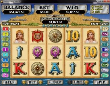 Royal Ace featuring the Video Slots Achilles with a maximum payout of $250,000