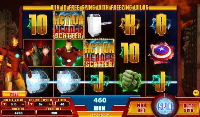 Action Heroes :: Multiple winning paylines