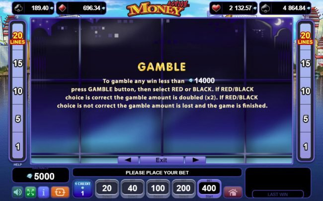 Play slots at Casinia: Casinia featuring the Video Slots Action Money with a maximum payout of $400,000