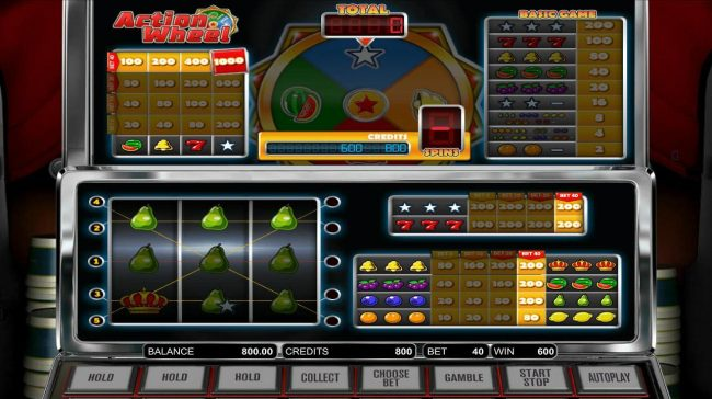 Play 24 Bet featuring the Video Slots Action Wheel with a maximum payout of $1,000