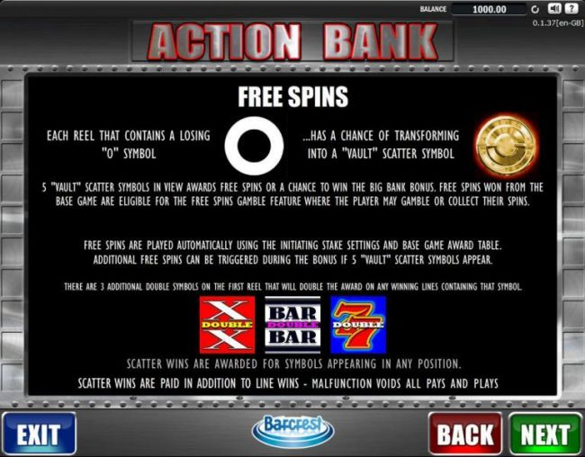 Powerspins featuring the Video Slots Action Bank with a maximum payout of $250,000.00