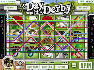 Dendera featuring the Video Slots A Day at the Derby with a maximum payout of $6,250