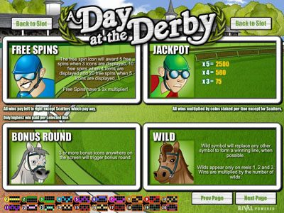 Jupiter Club featuring the Video Slots A Day at the Derby with a maximum payout of $6,250