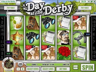 Euro Bets featuring the Video Slots A Day at the Derby with a maximum payout of $6,250