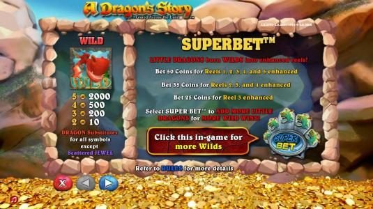 Wild symbol paytable and Superbet rules