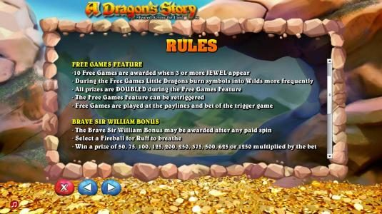 Free Games Feature and Brave Sir William Bonus feature game rules