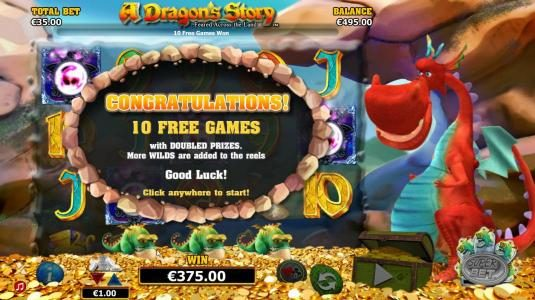 10 Free Games with prizes doubled. More wilds are added to the reels
