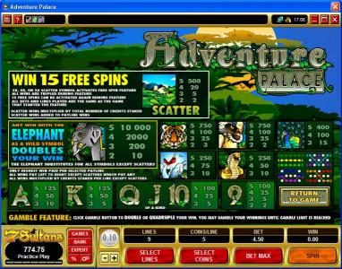 Heaven Bet featuring the Video Slots Adventure Palace with a maximum payout of $50,000