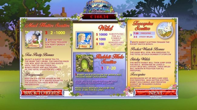Adventures In Wonderland :: Bonus, Scatter and Wild Symbol Rules
