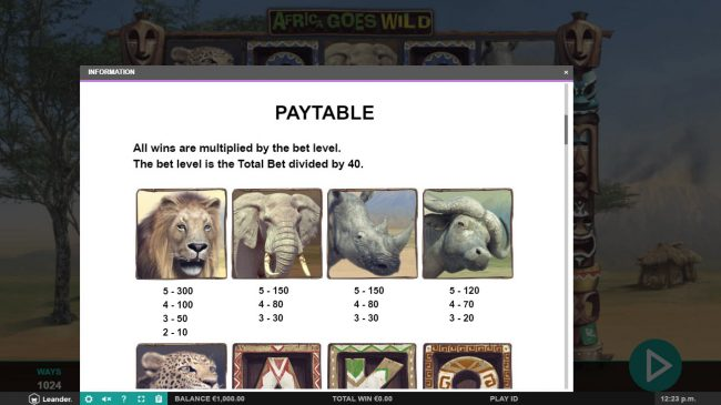 Casino Superlines featuring the Video Slots Africa Goes Wild with a maximum payout of $10,000