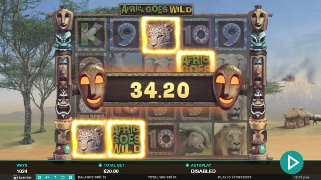 Hello featuring the Video Slots Africa Goes Wild with a maximum payout of $10,000