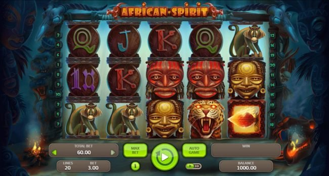 Play slots at Split Aces: Split Aces featuring the Video Slots African Spirit with a maximum payout of $3,000