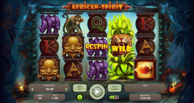 African Spirit :: Stacked wild symbol and respin triggered.