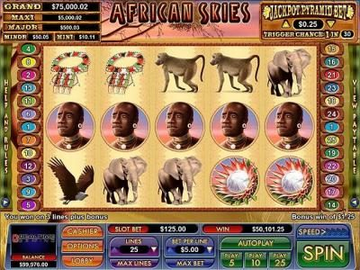 Slot Madness featuring the Video Slots African Skies with a maximum payout of $10,000