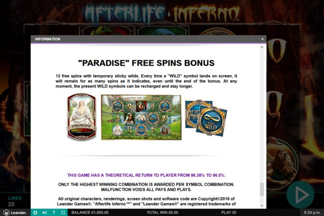 Casino Luck featuring the Video Slots Afterlife Inferno with a maximum payout of $100,000