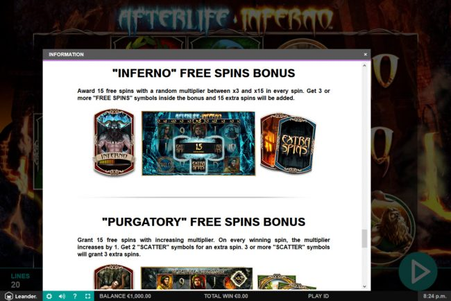 Amsterdam Casino featuring the Video Slots Afterlife Inferno with a maximum payout of $100,000