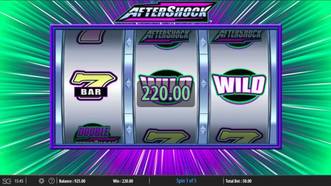 Lucky Me Slots featuring the Video Slots Aftershock with a maximum payout of $250,000