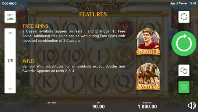 Age of Caesar :: Wild and Scatter Symbol Rules