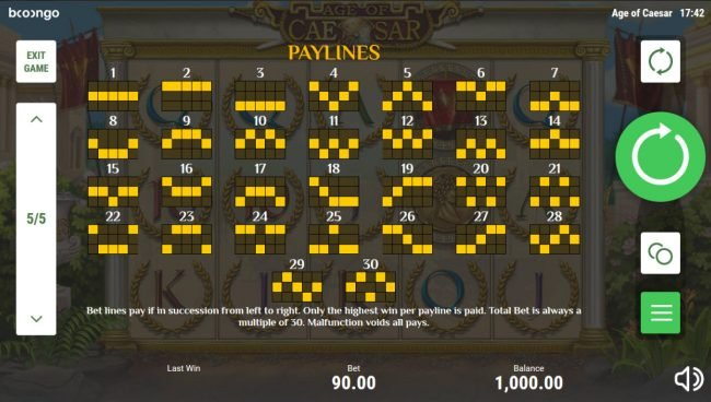 Age of Caesar :: Paylines 1-30