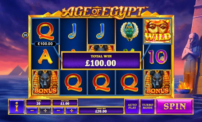 Titanbet.it featuring the Video Slots Age of Egypt with a maximum payout of $5,000,000