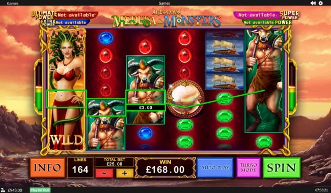 Slots Heaven featuring the Video Slots Age of the Gods Medusa & Monsters with a maximum payout of Jackpot