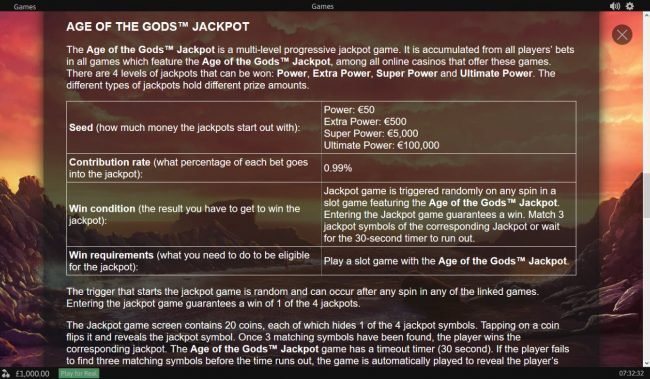 Age of the Gods Medusa & Monsters :: Progressive Jackpot Rules