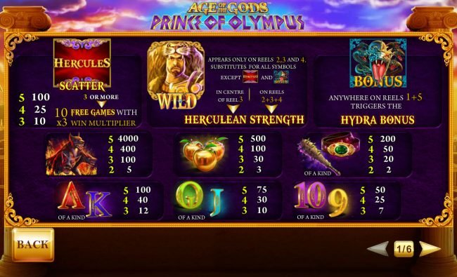 BGO Vegas featuring the Video Slots Age of the Gods Prince of Olympus with a maximum payout of $80,000
