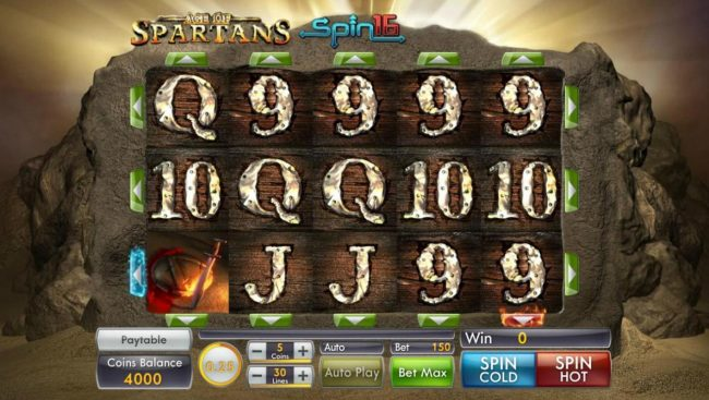 Platinum Reels featuring the Video Slots Age of Spartans Spin 16 with a maximum payout of $5,000
