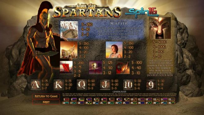 Treasure Island Jackpots featuring the Video Slots Age of Spartans Spin 16 with a maximum payout of $5,000