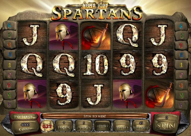Age of Spartans :: Main game board featuring five reels and 9 paylines with a $12,500 max payout.